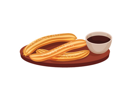 Traditional spanish dessert churros with a cup of chocolate on a wooden tray. Vector illustration on white background.