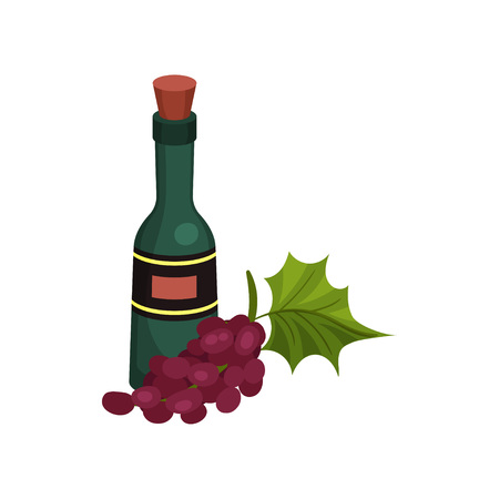 Green wine bottle with cork and label. Vector illustration on white background.
