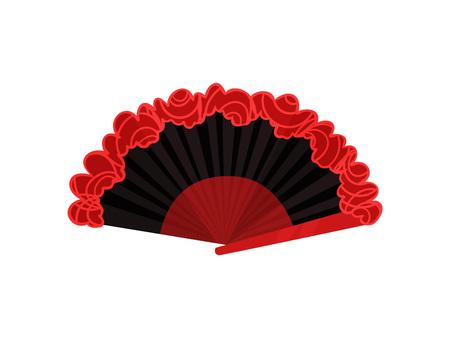Abanico para flamenco en los colores tradicionales. Rojo y negro. Ilustración vectorial sobre fondo blanco.