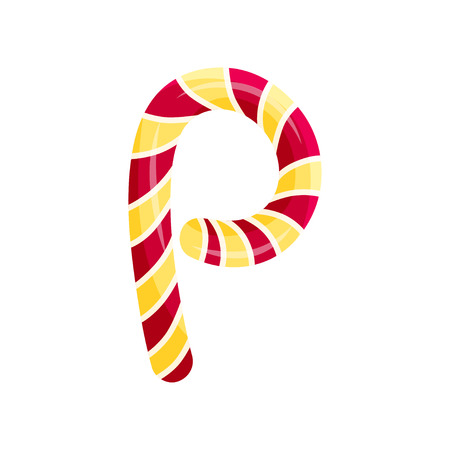 English letter P in the form of a striped candy. Vector illustration on white background. 向量圖像