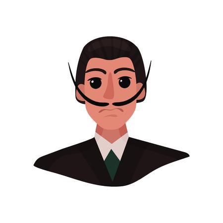 Portrait de Salvador Dali avec une longue moustache et des yeux expressifs. Illustration vectorielle sur fond blanc.