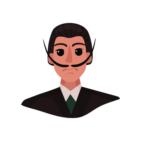 Portrait of Salvador Dali with long mustache and expressive eyes. Vector illustration on white background.