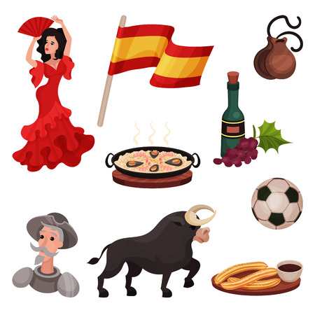 Spanish traditional symbols and objects. Flamenco, wine, bull, Don Quixote, wine, ball. Vector illustration on white background