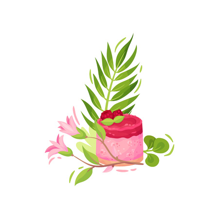 Set of sweets with flowers. Cake with raspberry berries. Decorated with a leaf of fern and pink flowers. Vector illustration on white background.