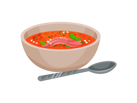 Menu concept. Gazpacho soup. Tomato soup. Spanish cuisine. Healthy food. Soup in flat style. Vector illustration