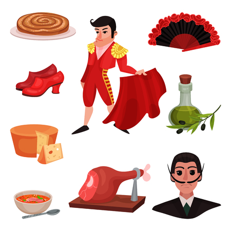 Spanish traditional objects and famous people. Vector illustration on white background.