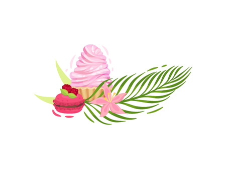 Raspberry muffin and basket with cream. Decorated with a large leaf of a fern and a blooming pink flower. Vector illustration on white background. Vecteurs