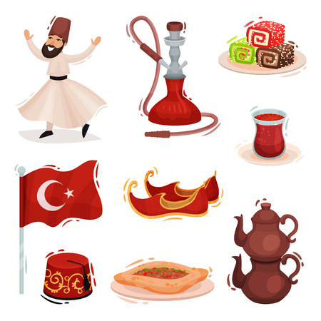 Collection Turkish national symbols. Vector illustration on white background.