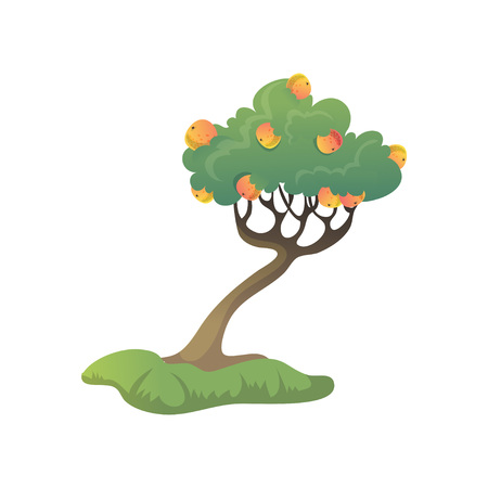 Many ripe apples are growing on the tree. Vector illustration on white background. 일러스트