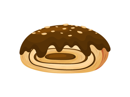Bun in the form of roll with filling. Decorated with chocolate icing and peanut chips. Vector illustration on white background.