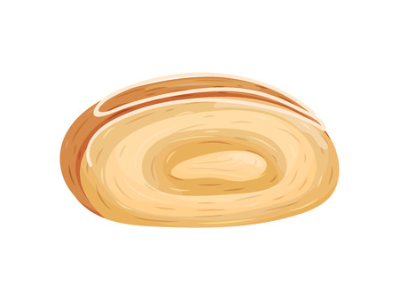 Bun in the form of a roll without a filling. Decorated with stripes of white glaze. Vector illustration on white background.