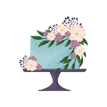 Blue cake with pink and purple flowers. Vector illustration on white background.