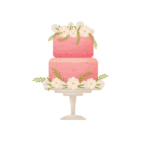 Two-tier pink cake on a white stand with a leg. Decorated with white buds and pink flowers. Vector illustration on white background.