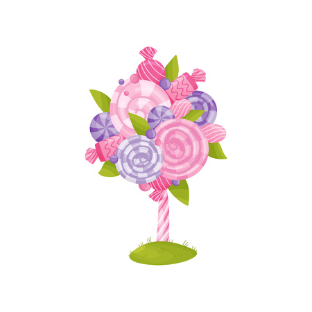 Fabulous tree of pink and purple lollipops. Striped pink trunk. Vector illustration on white background.