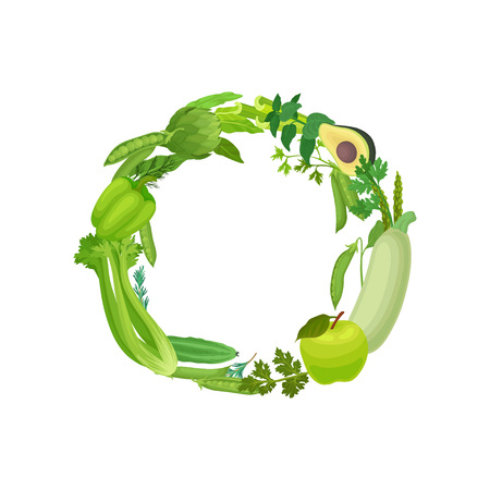 Wreath of leaves, fruit and vegetable green. Vector illustration on white background.