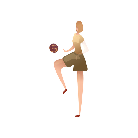 Woman plays the ball with her knee. Vector illustration on white background.