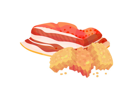 Square croutons with a piece of bacon. Vector illustration on white background.