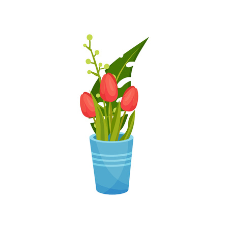Red tulips stand in a blue vase with stripes. Decorated with a large green leaf. Vector image on white background.