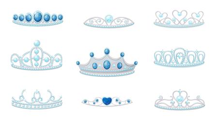 Set crowns image. Vector illustration on white background. Vektoros illusztráció