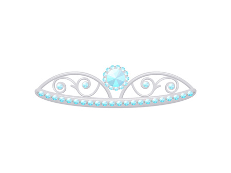 Silver tiara with a large diamond. Vector illustration on white background. Illustration