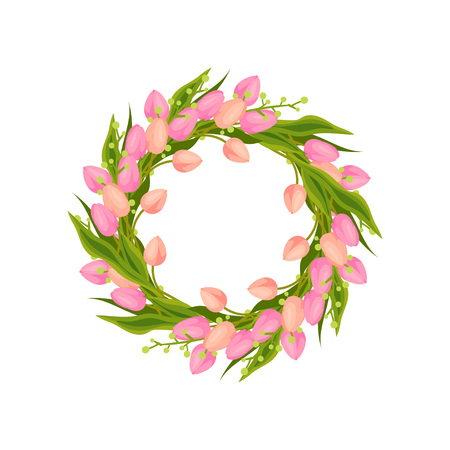 Round wreath of pink tulips. Decorated with green leaves. Vector image on white background.