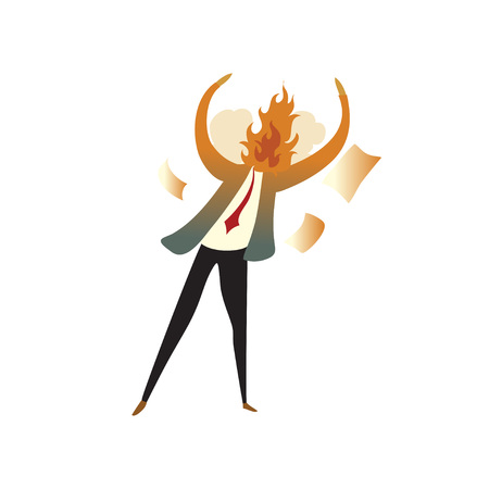 Man has a fire on the spot naked for anger. Vector illustration on white background. Illustration
