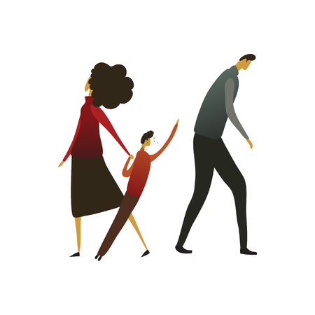 Woman leads a child away from a sad man. The boy cries and stretches back. Vector illustration on white background.
