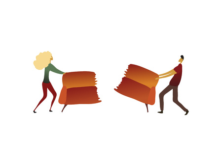 Man and a woman tore the couch in half. Vector illustration on white background. Vettoriali