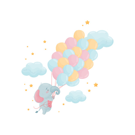 Cute baby elephant flies on a large bunch of blue and pink balloons. Vector illustration on white background. Banque d'images - 123099255