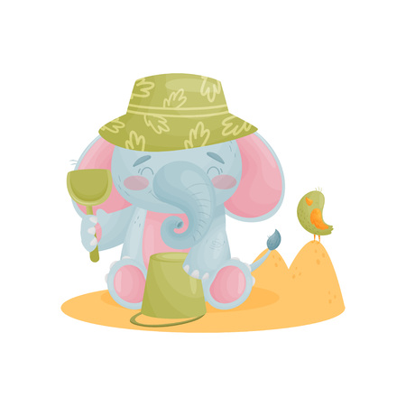 Humanized cute baby elephant playing in the sand. Vector illustration on white background. Ilustração