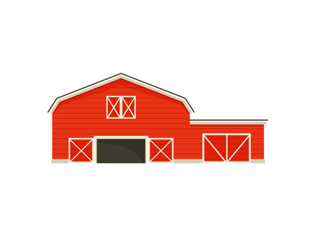 Small garage next to a large barn. Vector illustration on white background.