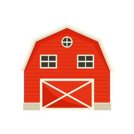 Granero rojo de madera grande. Ilustración vectorial sobre fondo blanco.