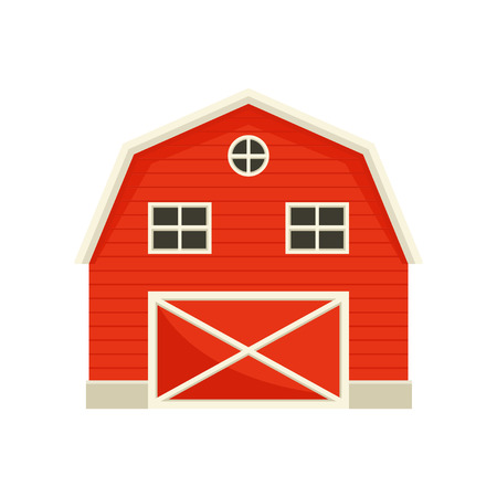 Large wooden red barn. Vector illustration on white background.