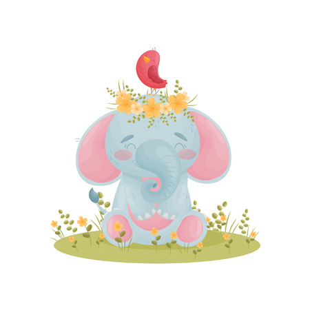 Humanized cute baby elephant sits with a bird and a wreath of flowers on his head. Vector illustration on white background.