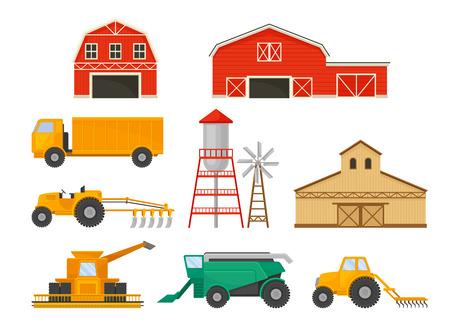 Zestaw obrazów pojazdów rolniczych i budynków. Ilustracja wektorowa na białym tle.