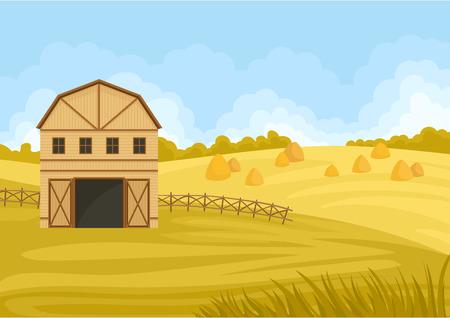 Grange beige dans un champ avec une botte de foin. Illustration vectorielle sur fond blanc.