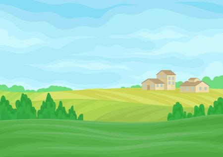 Landschaft mit steinernen Scheunen in der Ferne. Vektorillustration auf weißem Hintergrund. Vektorgrafik