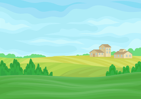 Paisaje con graneros de piedra en la distancia. Ilustración vectorial sobre fondo blanco. Ilustración de vector
