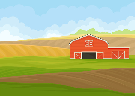 Red wooden shed with garage in the field. Vector illustration on white background.