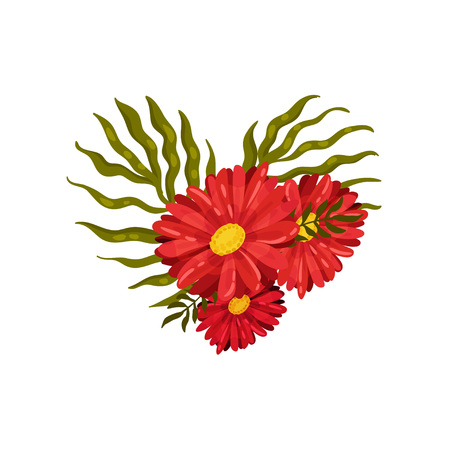 Composition in the form of heart from red gerberas. Vector illustration on white background.