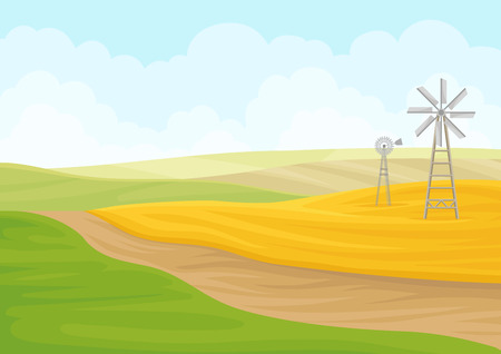 Windmill in the field. Vector illustration on white background. 矢量图像