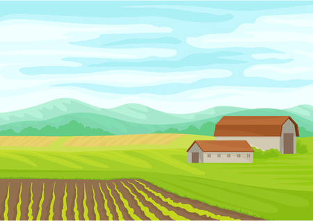 Gray stone barn in the field. Vector illustration on white background.