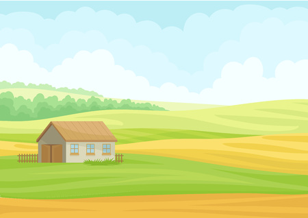 Gray stone barn in the meadow. Vector illustration on white background.