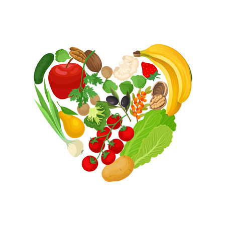 Vegetables, fruits and nuts are laid out in the shape of a heart. Vector illustration on white background. 일러스트