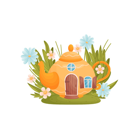 Fabulous house in the form of a teapot among grass and flowers. Vector illustration on white background. Vettoriali