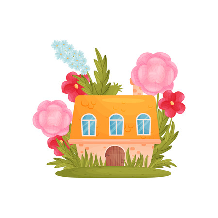 Fairy tale house among the grass and flowers. Vector illustration on white background. Ilustracja