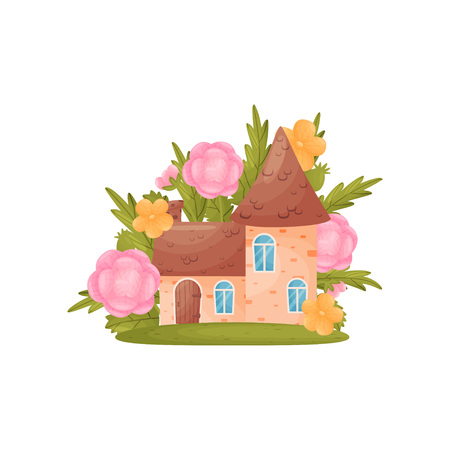 Little house in the grass and pink colors. Vector illustration on white background.