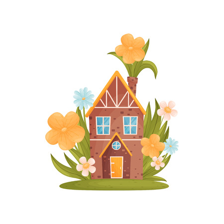Fairy tale house among the grass and colorful flowers. Vector illustration on white background. 版權商用圖片 - 123803601