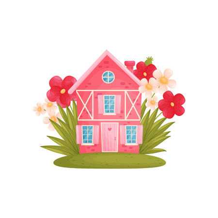 Fabulous pink house among large flowers. Vector illustration on white background.