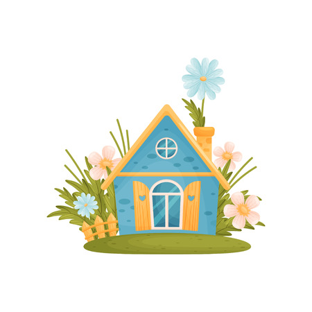 Fabulous blue house with a sharp roof among the flowers. Vector illustration on white background.